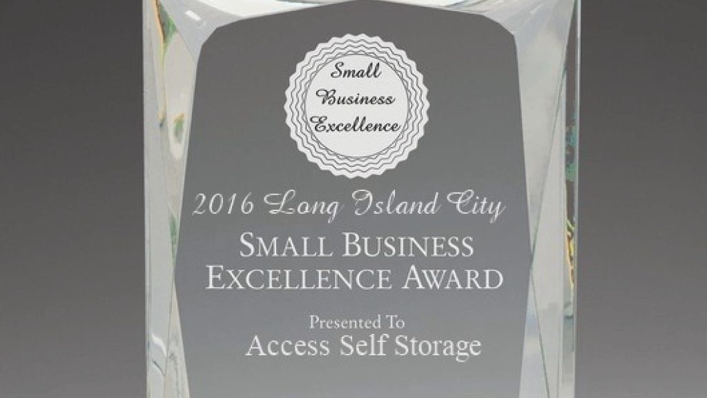 2016 Long Island City Small Business Excellence Award for Access Self Storage