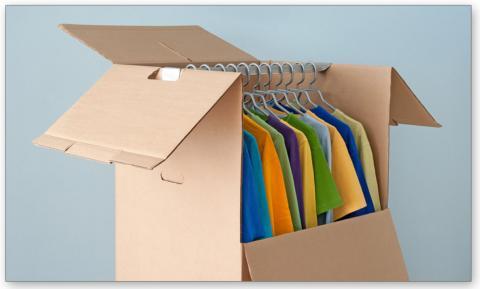 wardrobe box with metal hanger