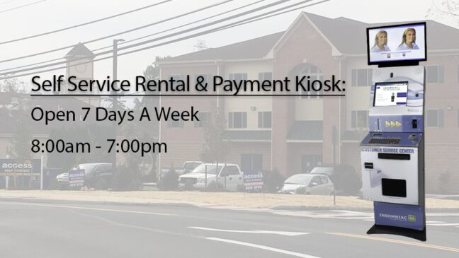 Self service rental and payment kiosk is open seven days a week, from 8 am to 7 pm.