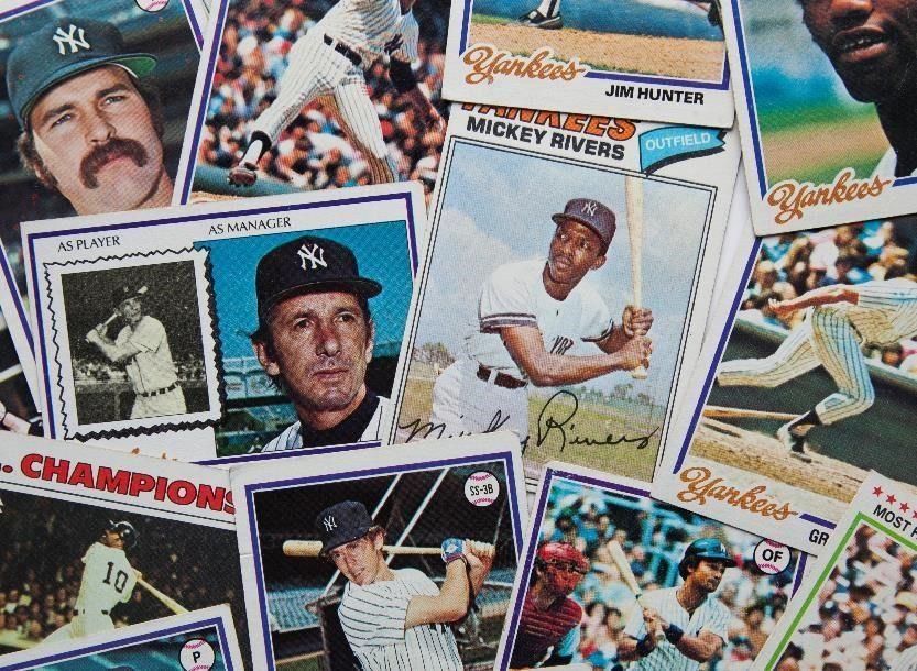 Baseball card collection.
